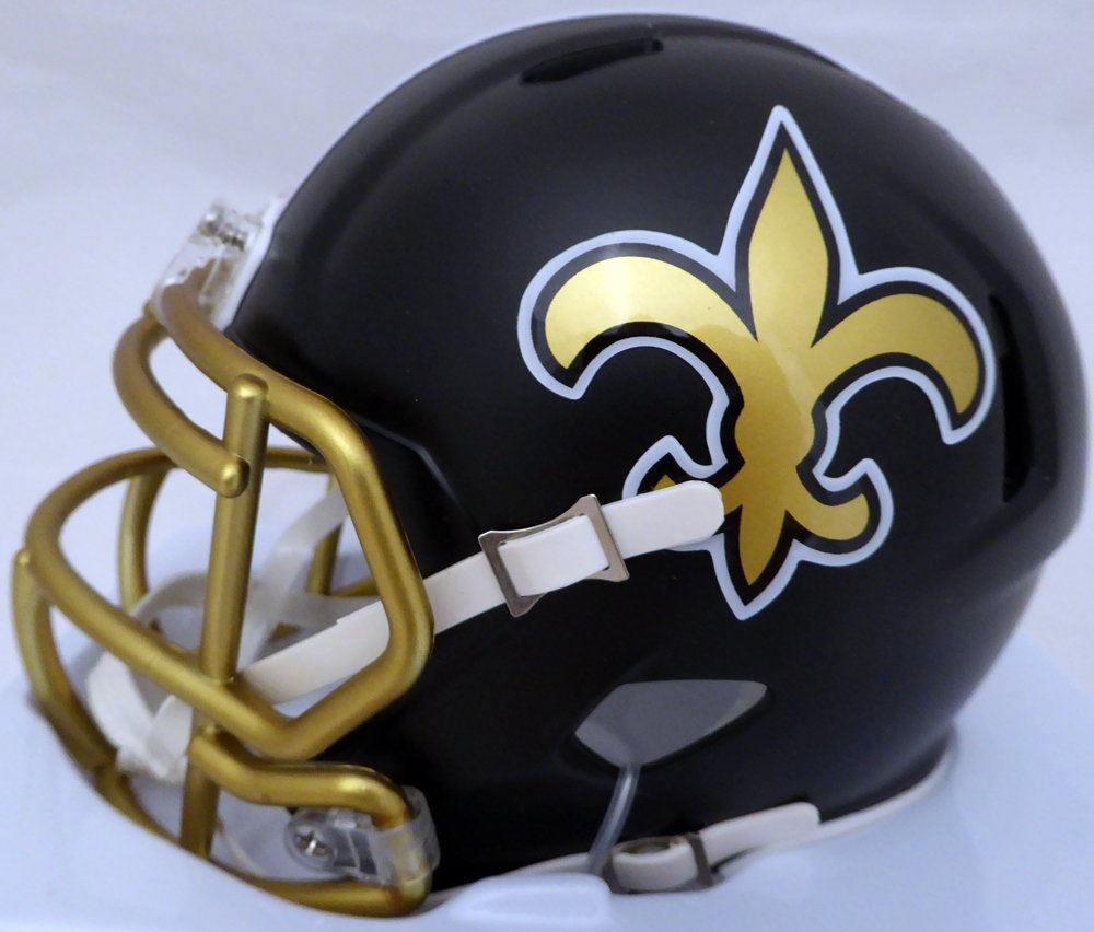 ALVIN KAMARA AUTOGRAPHED NEW ORLEANS SAINTS BLACK BLAZE SPEED MINI HELMET BECKETT BAS STOCK #126249