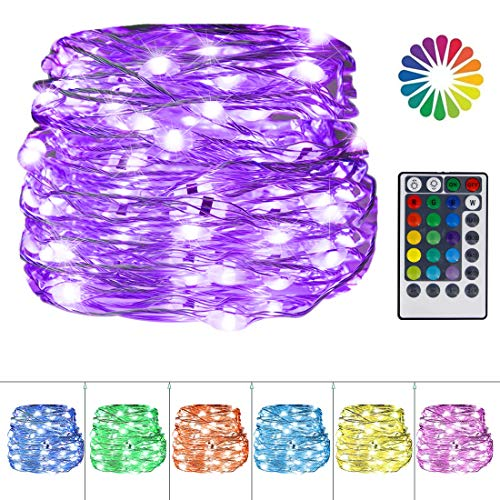 Twinkle Star USB Fairy String Lights, 33Ft 100 LED Waterproof 16 Colors Changing Sliver Wire Lights with 4 Lighting…