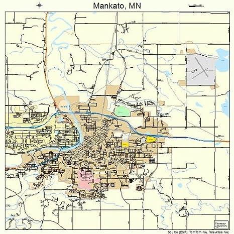Amazon.com: Large Street & Road Map of Mankato, Minnesota MN ...