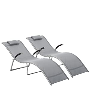Grau Sonnenliege Gartenstuhl  Relaxliege Poolliege Strandliege Klappbar Liege DE
