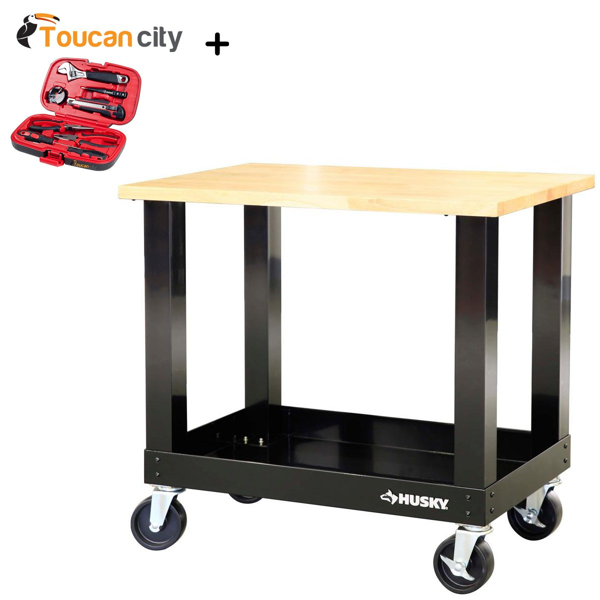 Toucan City Husky 3' Mobile Solid Wood Top Workbench G3600S-US and Tool Kit (9-Piece)