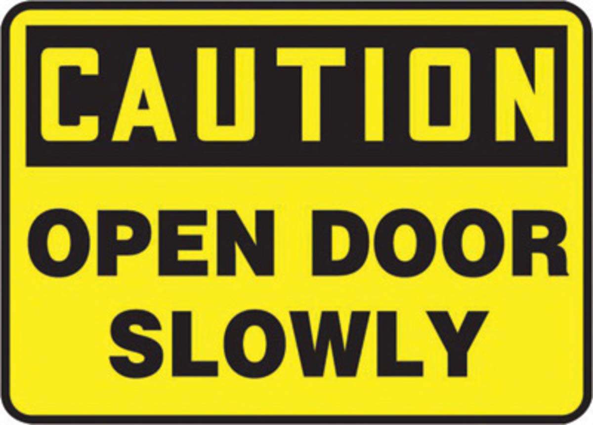 Accuform Signs 10'' X 14'' Black And Yellow 0.040'' Aluminum Admittance And Exit Sign''CAUTION OPEN DOOR SLOWLY'' With Round Corner