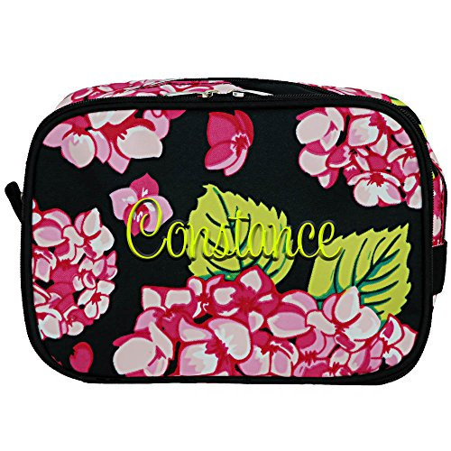 Monogrammed Carolina Hydrangea 2 Compartment Makeup Cosmetic Bag Toiletry Travel Kit Organizer