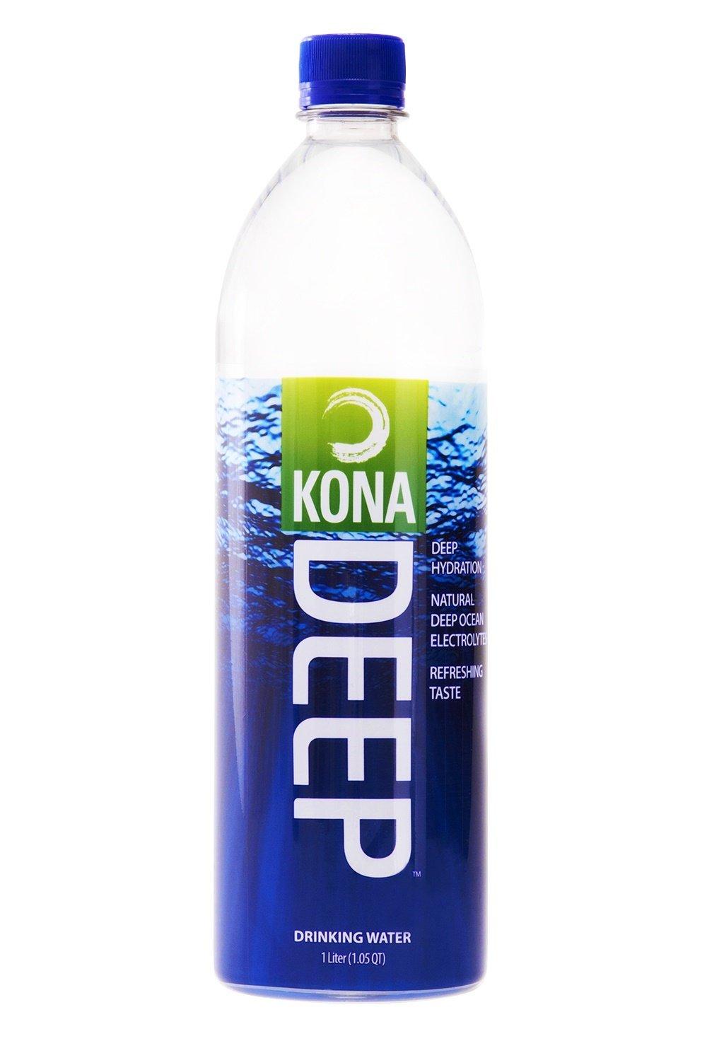 Kona Deep Pure Deep Ocean Electrolyte Mineral Water (1 L), 12 Count