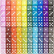 100-pack Translucent & Solid 6-Sided Game Dice - 20 Sets of Dice in Vintage Colors for Gaming, 16mm Bulk d