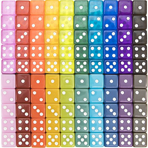 100-pack Translucent & Solid 6-Sided Game Dice | 20 Sets of Dice in Vintage Colors for Gaming, 16mm Bulk d6 Dice for Board Games, Teaching Math, Make Your Own Board Game Supplies & Replacement Pieces (Solid Dice)