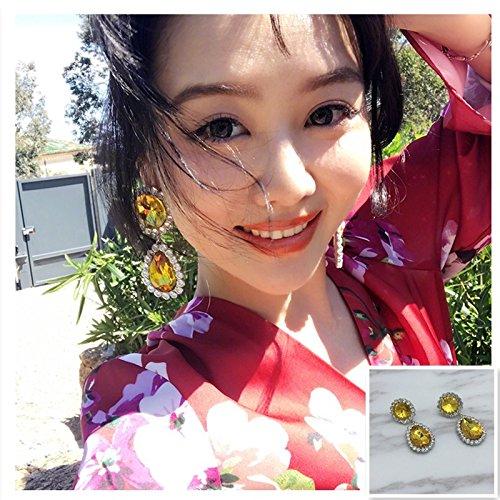 (usongs Red with 2018 net money classic charm delicate teardrop diamond earrings handmade earrings women girls)
