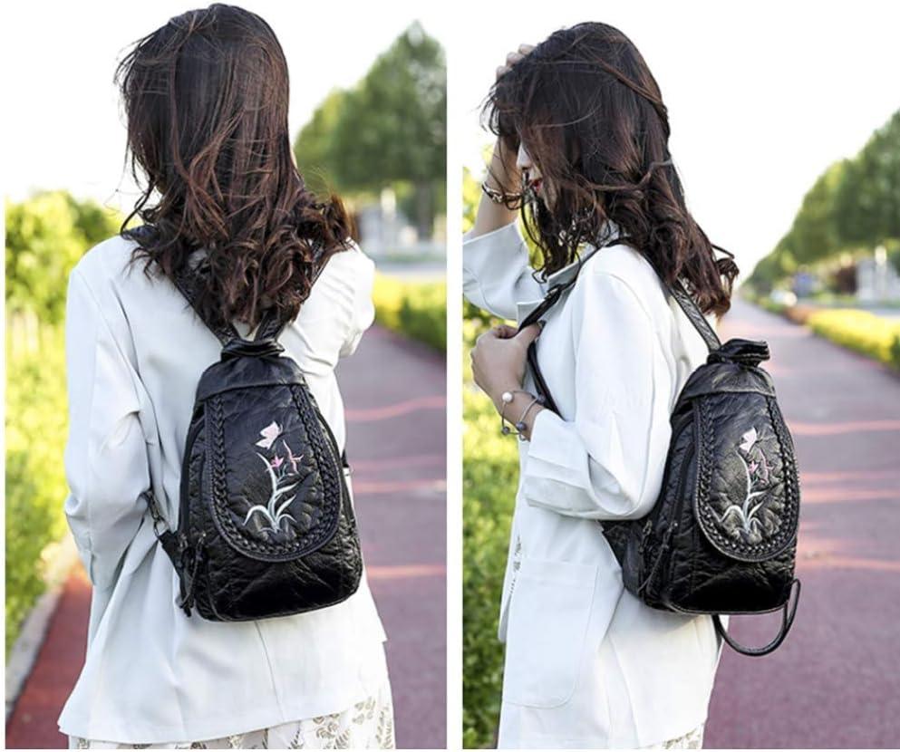 KDYSMWD Women's Backpack Embroidered Soft Washed Shoulder Bag Women's Backpack Chest Bag Orchid