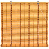 Oriental Furniture Burnt Bamboo Roll Up Blinds - Two-tone Honey - (72 in. x 72 in.)