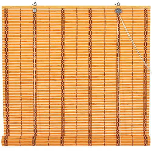 - Oriental Furniture Burnt Bamboo Roll Up Blinds - Two-tone Honey - (36 in. x 72 in.)