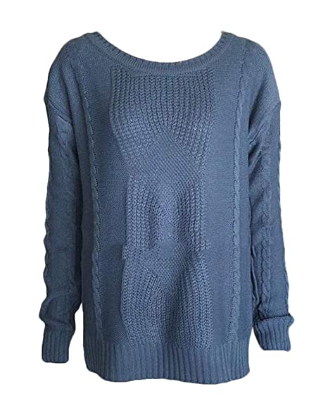 CRYYU Women Long Sleeve Crewneck Pullover Chunky Cable Knit Sweater Top  Cowboy Blue US S 0927f4e1c