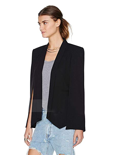 125b0e79e0b97 Liengoron Women s Elegant Cape Cloak Sleeve Round Neck Party Top Blouse  Blazer Jacket (Black