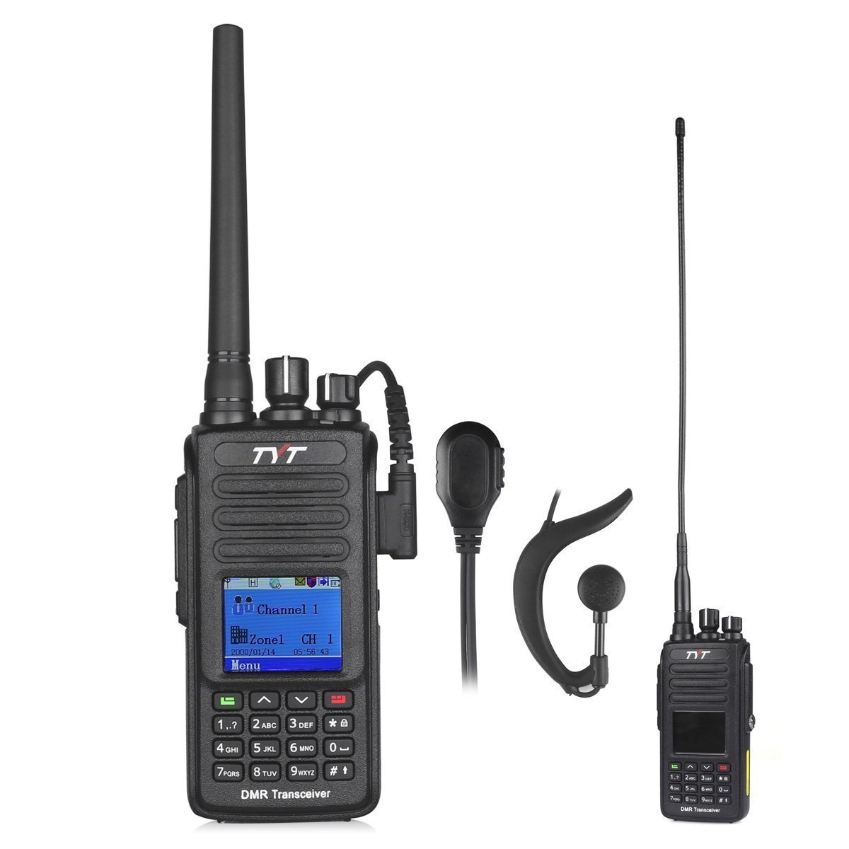 TYT Tytera Upgraded MD-390 DMR Digital Radio, with GPS Function! Waterproof Dustproof IP67 Walkie Talkie Transceiver, UHF 400-480MHz Two-Way Radio, Compatible with Mototrbo, with 2 Antenna, Black