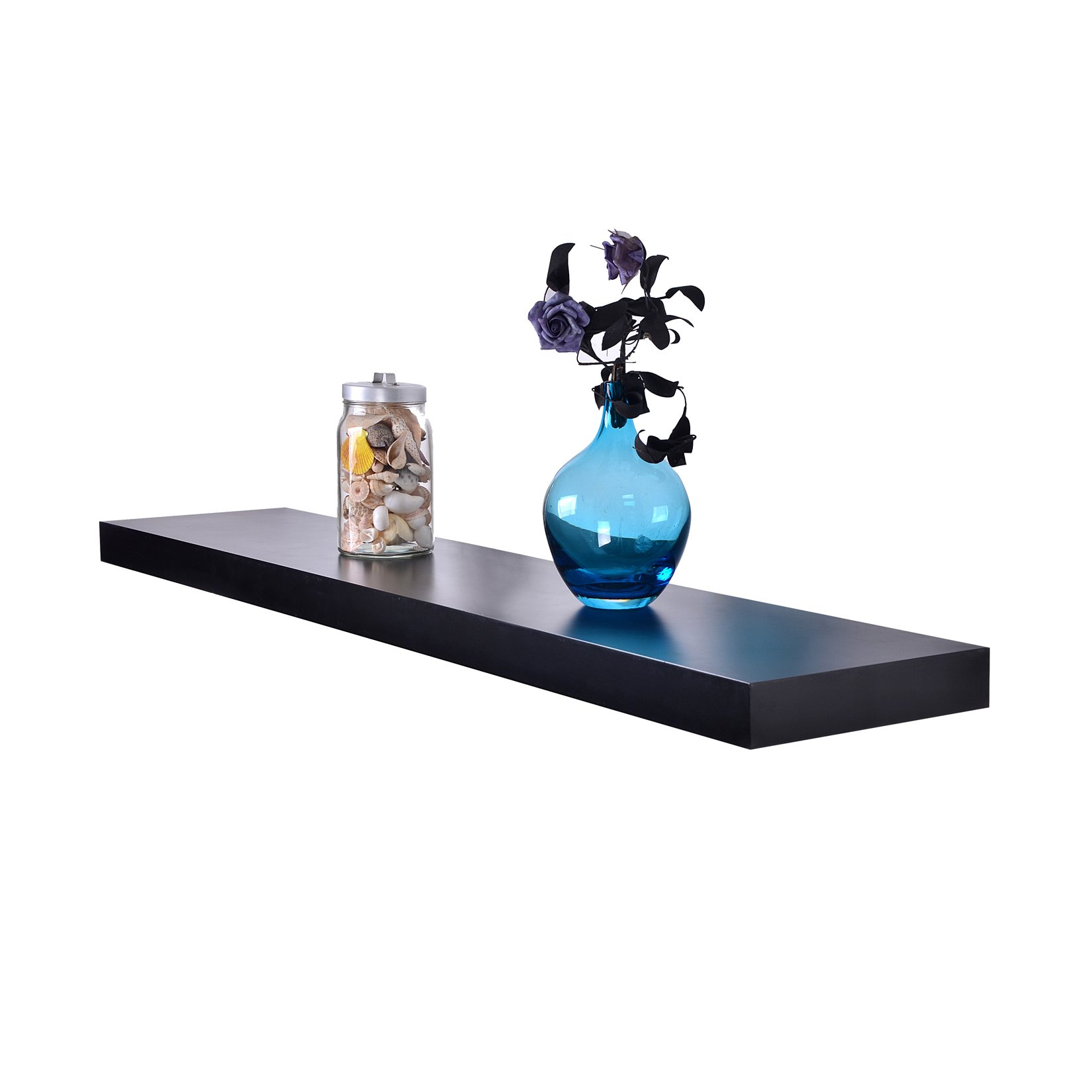 WELLAND Chicago Floating Wall Shelves, 48-inch,Black