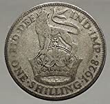 1928 UK Great Britain UNITED KINGDOM AR Shilling Coin GEORGE V w LION i56880