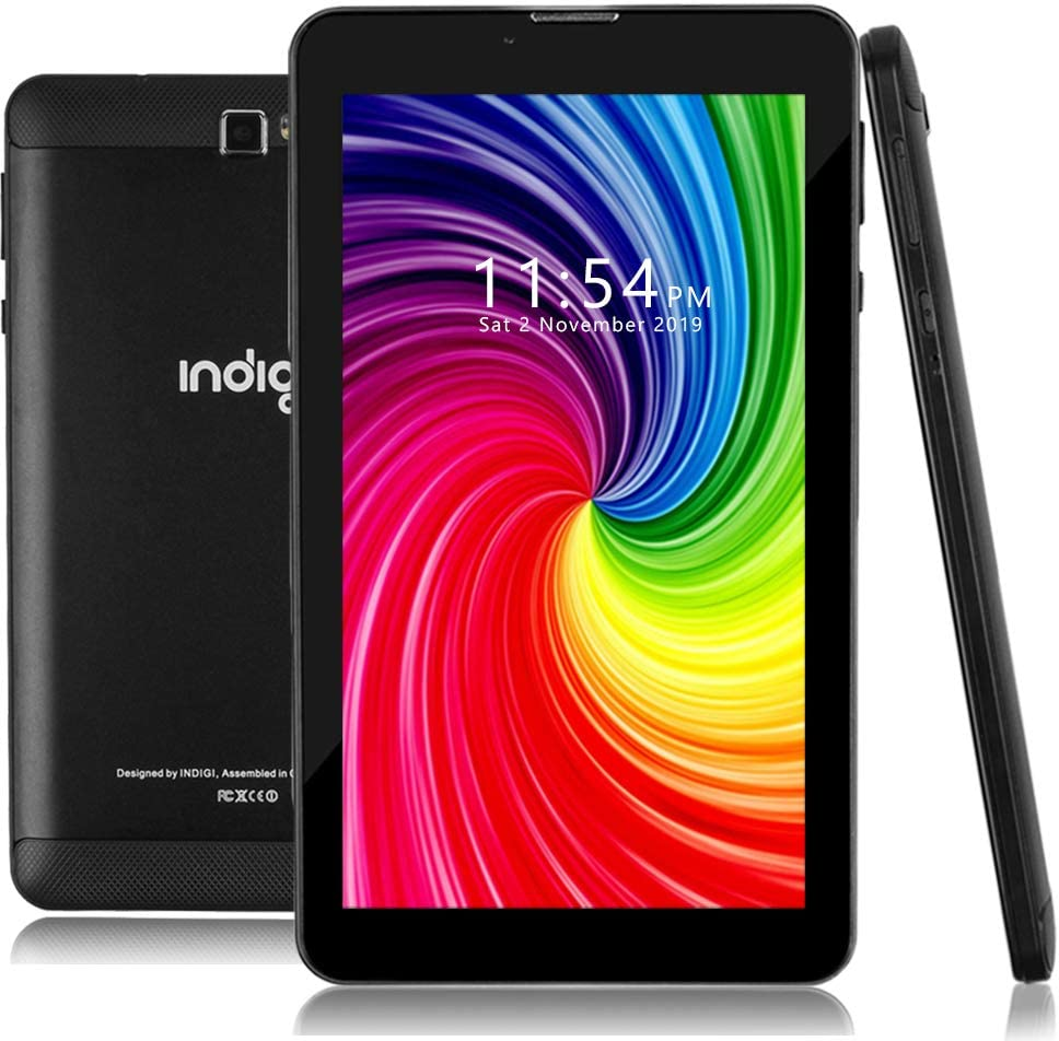 Indigi 4G LTE TabletPC, Google Certified Android Pie Edition, Quad-Core CPU 2GB RAM/16GB Storage,7 inch IPS Display, Wi-Fi, Bluetooth Enabled, Black