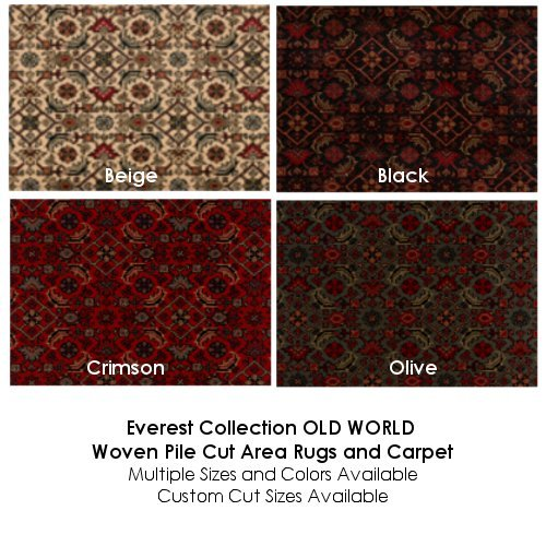 Beige Everest Collection OLD WORLD Woven Pile Cut Area Rugs and Carpet