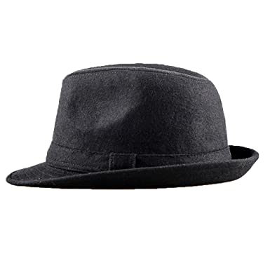 ad0378a759 LIZVNK Men s Deluxe Felt Leather Classic Derby Bowler Hat Dress Up ...