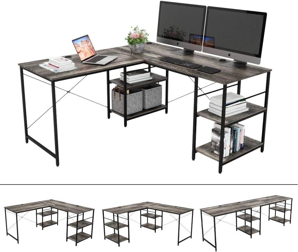 """Bestier L-Shaped Desk with Storage Shelves Adjustable 95.5"""" 2 Person Desk Modern Industrial Corner Computer Desk, Large L Desk for Home Office Student Writing Gaming Workstation, Gray"""