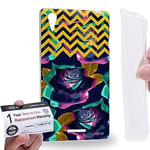 Case88 [Sony Xperia T3 D5103/D5106/D5102] Gel TPU Carcasa/Funda & Tarjeta de garantía - Art Drawing Fashion Floral Chevron A Art0764