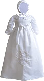 Cinda Bambino Maniche Lunghe in Raso Battesimo Abito Lungo e Cofano Motore Bianco