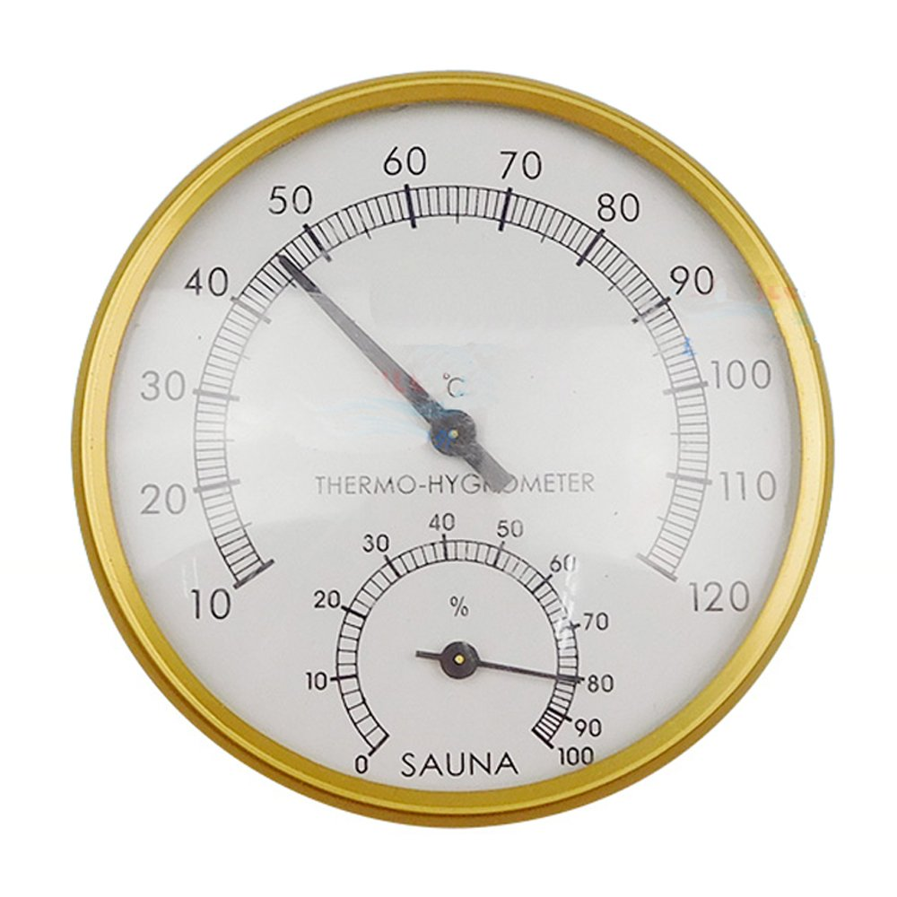 szdealhola Golden 4-inch Dial Thermometer Hygrometer for Sauna Room Thermo-hygrometer