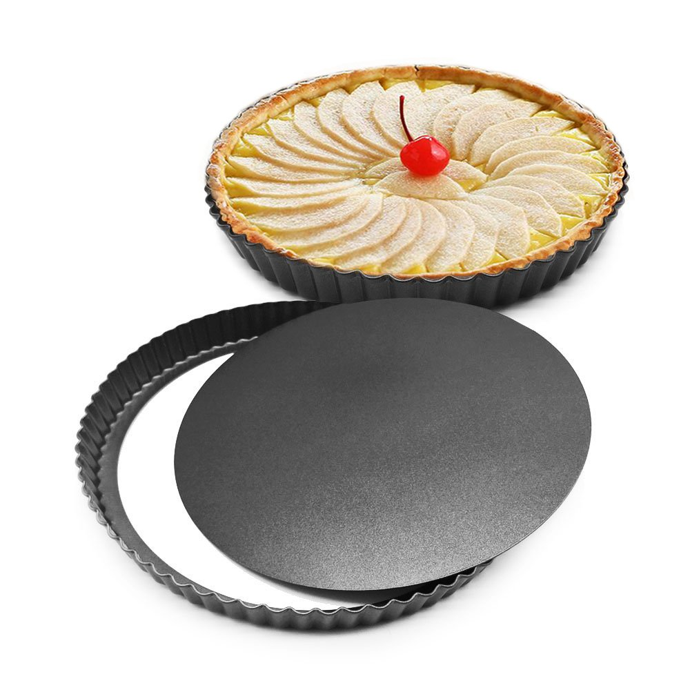 MZCH Non-Stick Removable Loose Bottom Quiche Tart Pan, Tart Pie Pan, Round Tart Quiche Pan with Removable Base, 8 inches(Set of 2 Pieces)