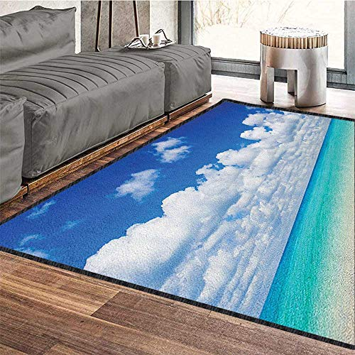 - Ocean Home Decor Rug,Paradise Beach and Tropical Hawaiian Exotic Sky Color with Clouds Scenery Add Fashion to Room's Decor Turquoise Azure White 79