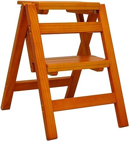 LAXF- Sillas Escalera Plegable Madera Hogar Escalera Multifuncional de Madera Maciza Escalera Plegable de Dos escalones Escalera portátil de Madera pequeña (Color : A): Amazon.es: Hogar