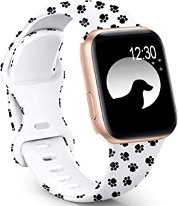 GeekSpark Sport Band Compatible with Apple Watch Bands 38mm 40mm for Women Men, Floral Printed Fadeless Pattern Silicone Replacement Strap Band for iwatch SE/Series 6/5/4/3/2/1 38mm/40mm S/M