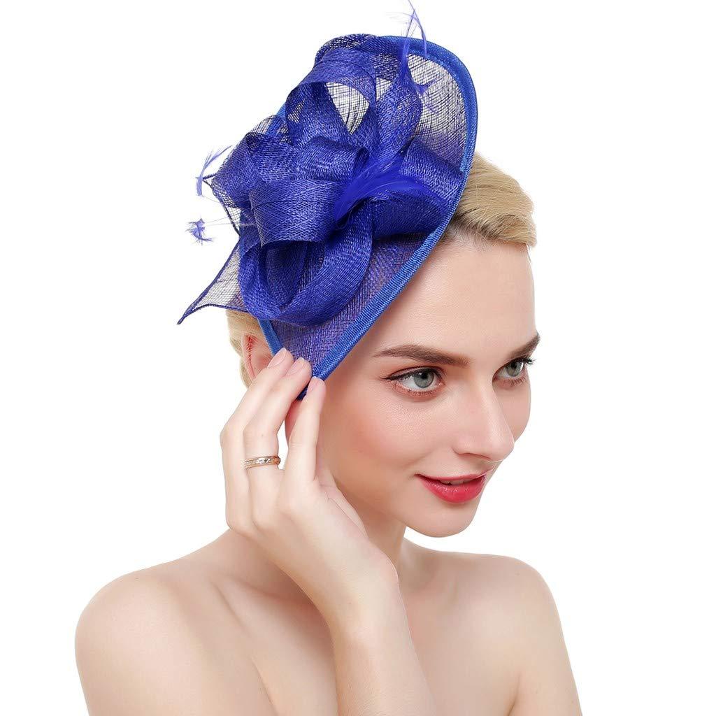 Blustercool Bestshope Big Flower Handmade Headband Netting Mesh Cocktail Hat Wedding Bridal Party Girls Women Fascinator Hairband