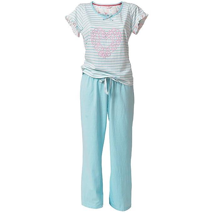 De camafeos de Paris para mujer de corazón con texto en diseño a rayas de manga corta para pata larga pijama: Amazon.es: Ropa y accesorios