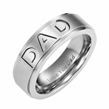 Stainless Steel Dad Ring Engraved Love You Dad Men/'s Ring Jewelry Gifts Size7-12