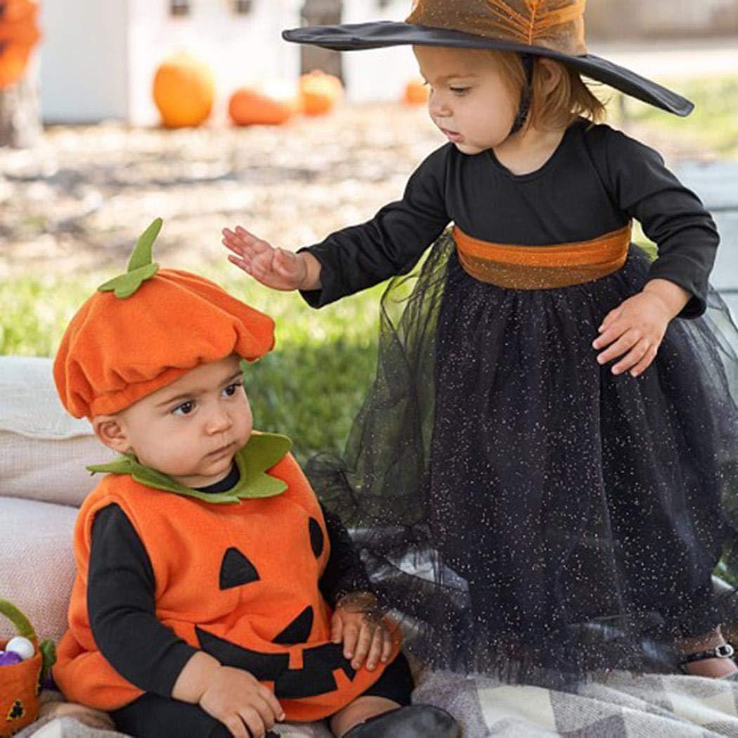cietact Infant b/éb/é Filles gar/çons Costumes Halloween Body Citrouille sans Manches Volants Romper Tenue avec Chapeau