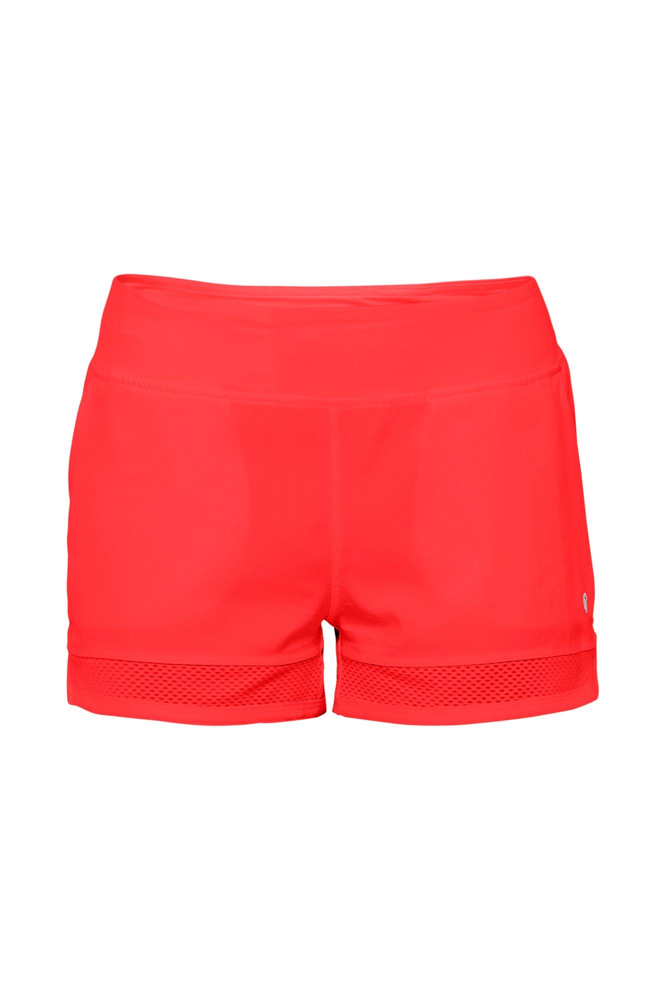 Lija Women's Shadow Mesh Cut Out Shorts, Poppy, Large