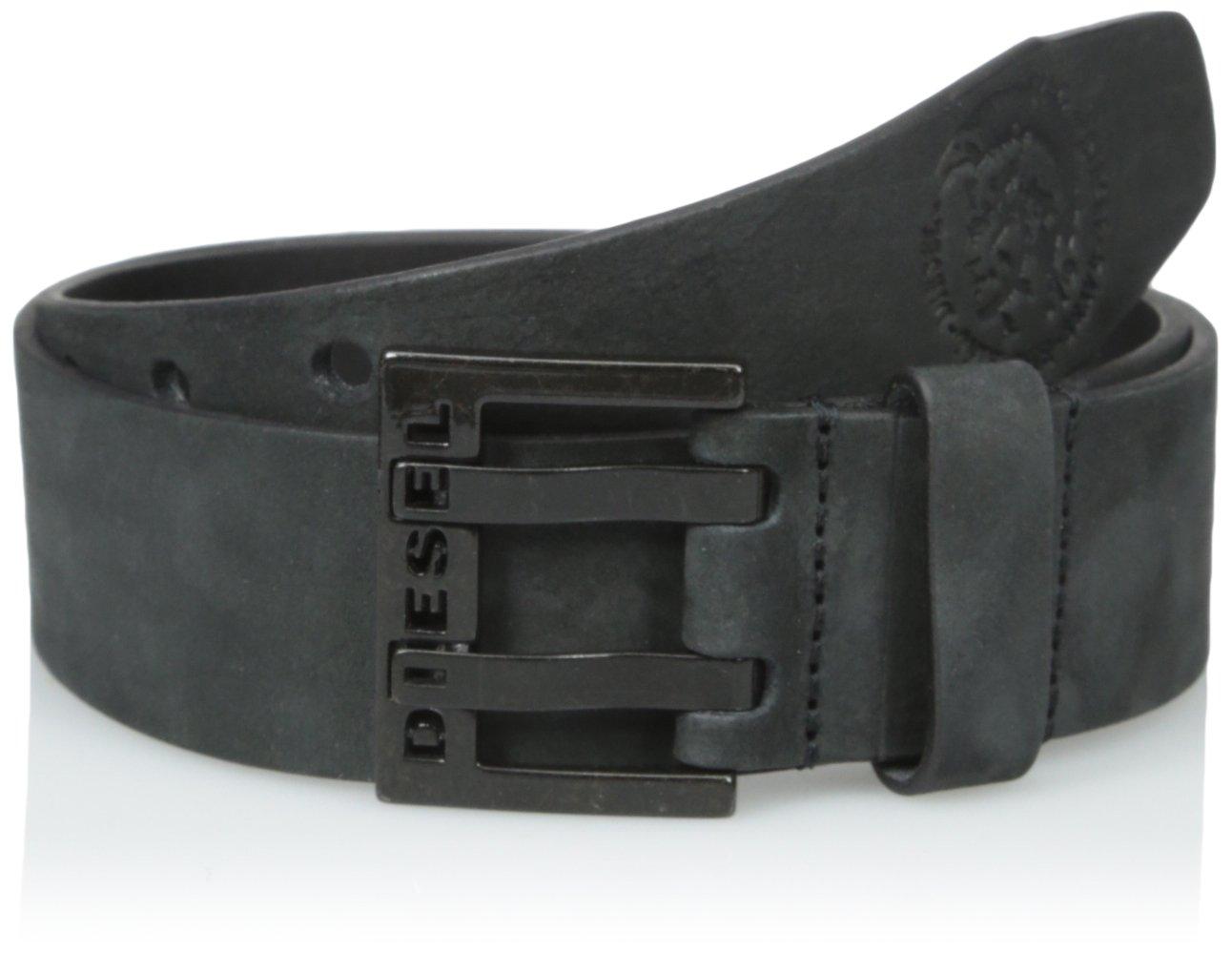 (ディーゼル) DIESELメンズ ヌバックレザー ベルト - BIT - belt B0189DORIA 80(日本サイズS相当)|ブラック ブラック 80(日本サイズS相当)
