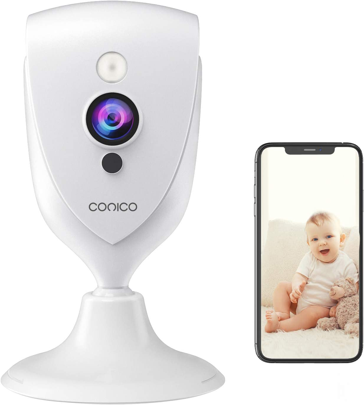 Baby Monitor, Conico 1080P HD Wireless Camera Pet Cam with Sound Motion Detection, Home Camera Wireless Security Camera with 2- Way Audio, Night Vision Cloud WiFi Camera for Baby, Pet, Elder