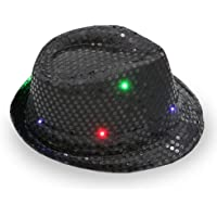 HONGSHAN Luces LED Intermitentes Lentejuelas Sombrero De Jazz