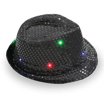 MENGZHEN 1PC Sequin Fabric LED Light Up Chrismas Xmas Jazz Cap Colorful  Party Costume Hats Cowboy 197c75985be7