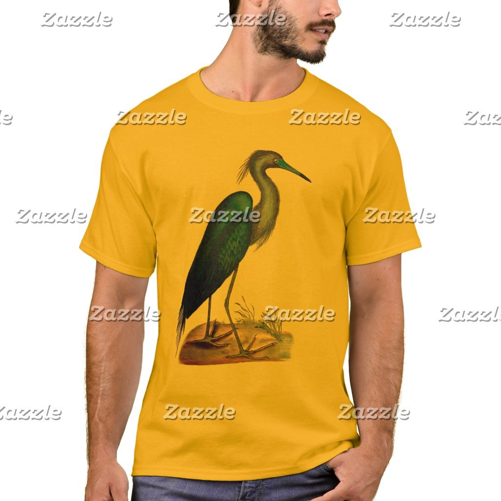 Amazon Zazzle Mens Basic T Shirt Blue Heron 3 2 Gold S Clothing