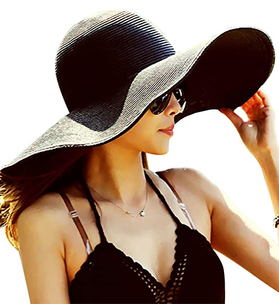 21e30357058831 Chalier Womens Sun Hat Wide Brim Beach Hat Cap Floppy Foldable Roll up  Summer Straw Hat at Amazon Women's Clothing store: