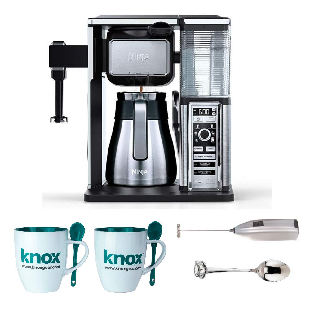 Ninja CF097 Coffee Bar, Black/Silver Includes Frother, Set of Mugs and Set of Demi Spoons (Renewed)