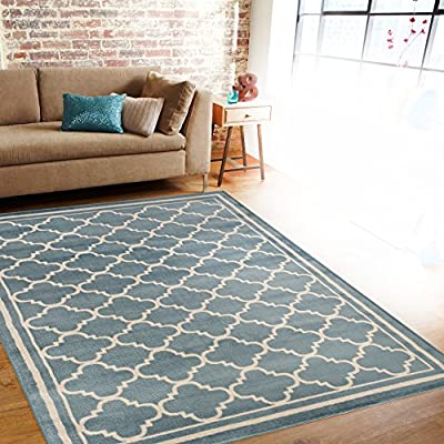 """Rug Decor Trellis Contemporary Modern Design Area Rug, 5' 3"""" by 7' 3"""", Blue - Brand New Area Rug No Fringe For Clean Design Stain Resistant - living-room-soft-furnishings, living-room, area-rugs - 61bI%2BcNGqxL. SS400  -"""