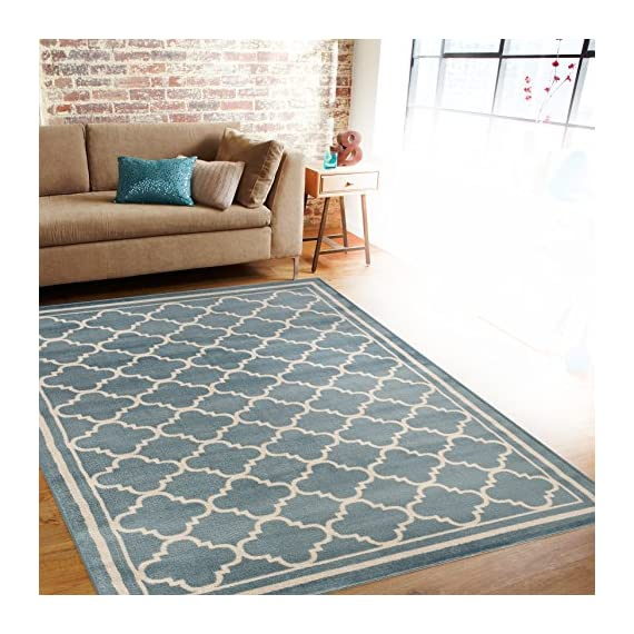 """Rug Decor Trellis Contemporary Modern Design Area Rug, 5' 3"""" by 7' 3"""", Blue - Brand New Area Rug No Fringe For Clean Design Stain Resistant - living-room-soft-furnishings, living-room, area-rugs - 61bI%2BcNGqxL. SS570  -"""