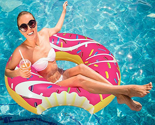 WisToyz Riffspheres Giant Donut Pool Float Lounger - Chocolate Inflatable Pool Floats Toy Raft for Adults & for Kids. 51