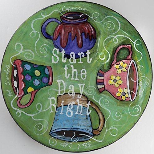'Start the Day Right', Coffee Tea Cup Handpainted Wooden Lazy Susan by NC Folk Artist, Kristen Feighery (Cup Susan)