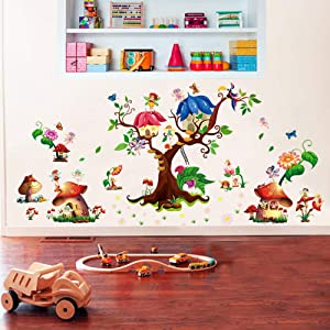 ufengke Fairy Garden Wall Stickers Tree Mushroom House Wall Decals Mural for Girls Bedroom Nursery Living Room