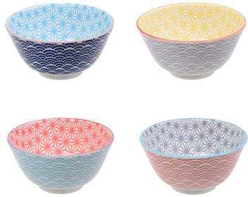 Tokyo Design Studio Starwave Rice Bowl Gift Set - Mixed Set Of 4 at Amara