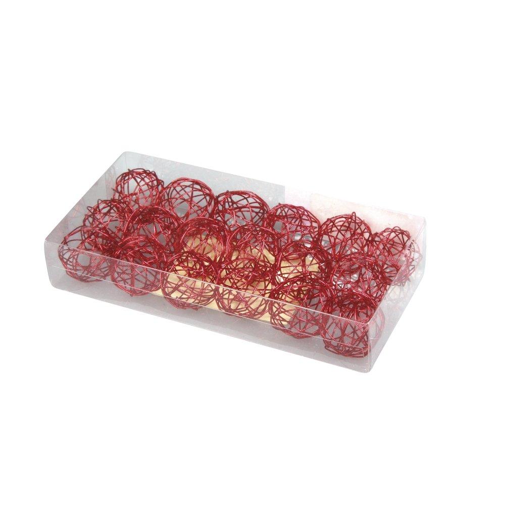 Rayher Boule en fil de fer /Ø 2 cm Rouge 18 pi/èces