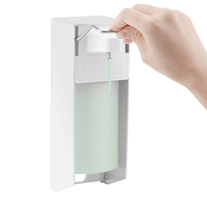 Montaje en pared dispensador de jabón, ALLOMN 500 ml Dispensador de desinfectante mano codo jabón